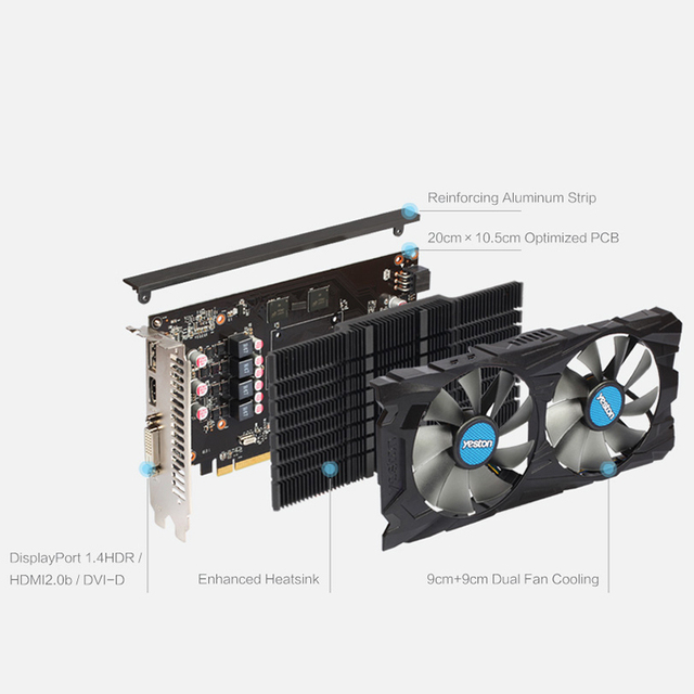 Yeston Radeon RX 560D GPU 4GB GDDR5 128 bit Gaming Desktop computer PC Video Graphics Cards support DVI/HDMI 3