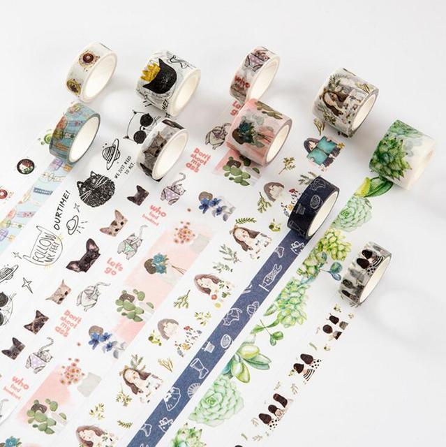 MC Casa Novidade Padrões Fita Washi Decorativo DIY Fita Adesiva Scrapbooking Escola Material de Escritório