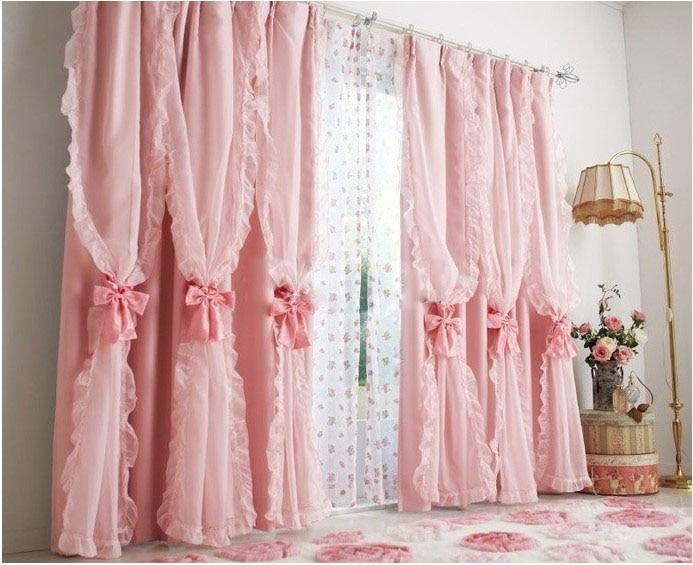 Ruffles Pink kidsLuxury curtains For bedroom living room drape Ruffles luxury curtain window treatment brand curtains