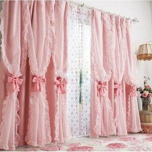 Ruffles Pink kidsLuxury curtai