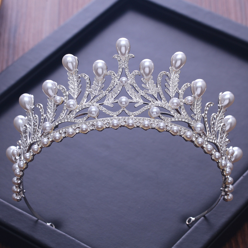 Wedding Tiaras And Crowns Crystal headbands Luxury Simulated Pearl Princess Pageant Bridal Hair Accessories wedding jewelry gift