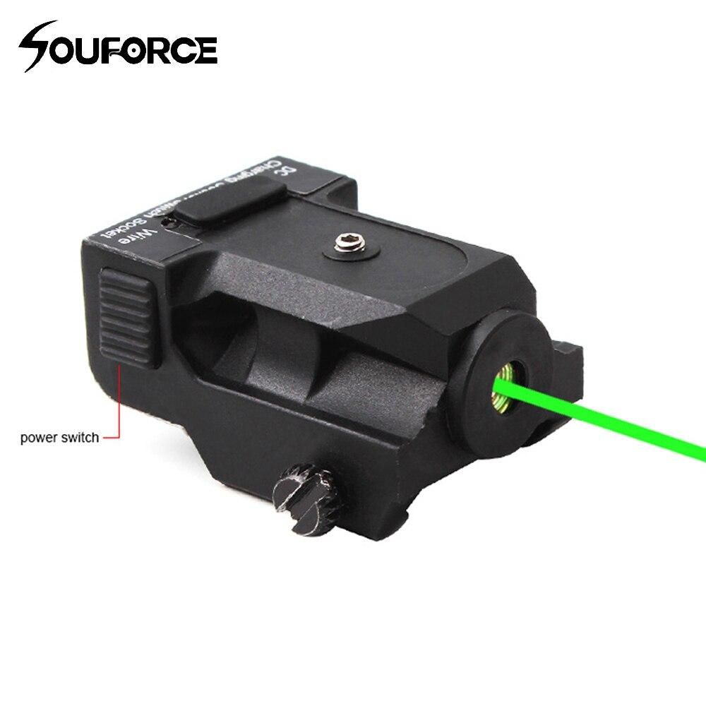 Высокое качество Тактический Перезаряжаемые металлический зеленый лазерный прицел Ranger 50-100 м для 20 мм железнодорожных крепления в Охота