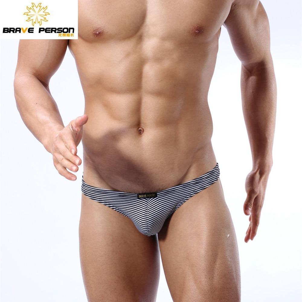 Brave Person Brand Underwear Mens Sexy Knitting Striped Briefs Bikini Cotton G-string Thongs Men Tanga Jockstrap Underwears