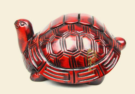 Animal turtle real wood carving longevity turtle piggy bank home living room piggy bank decoration town modern simplicity Arts