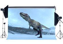 恐竜背景ジュラ紀自然風景大雪で冬のワンダーランドおとぎ話写真撮影の背景