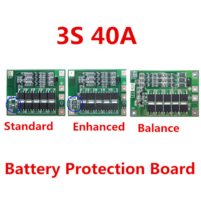3S 40A  11.1V 12.6V 18650 lithium battery protection Board for drill 40A current Standard/Enhance/Balance