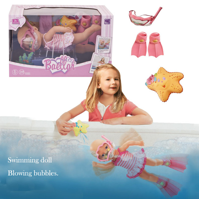 Hot Sale New Pink reborn baby doll can diving swimming in the water with doll masks flippers plastic bath toy New born baby doll