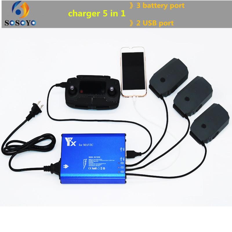 Prix pour 5 en 1 Batterie télécommande chargeur Intelligent charge Double USB port téléphone De Charge pour DJI Mavic Pro Drone Accessoires