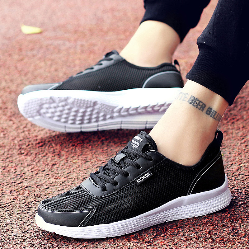 Summer Men Casual Shoes Fashion Breathable Lace Up Black Trainers Sneakers Big Plus Size 38-48 Male Footwear Mens Mesh Shoe