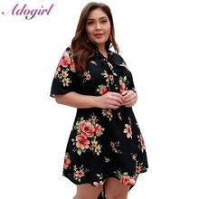 Women Plus Size S-5XL Floral Print Boho Beach Mini Dress Summer Casual Short Sleeve Holiday Party Dresses Lady Big Vestidos