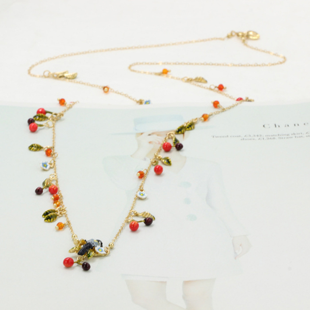 New Bird Cherry Long Sweater Necklaces For Women Luxury Enamal All-match Party Prom Jewelry Good Gift High Quality