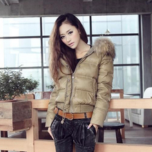 White Duck Down Jacket Women Short Winter Down Parka Hooded with Fur Collar