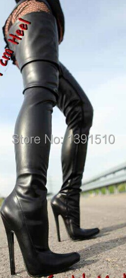 9d659a92e47 Summer high heels boots,Sexy 18cm high heels black PU leather women thigh  high motorcycle boots,men sexy overknee boots size 43