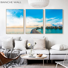 Blue Sky and White Clouds Seaside Apartment Summer Sunshine Landscape Wall Decoration Poster Canvas Painting Print Picture Decor