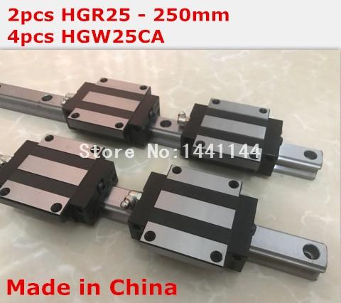 HG linear guide 2pcs HGR25 - 250mm + 4pcs HGW25CA linear block carriage CNC parts салфетки hi gear hg 5585
