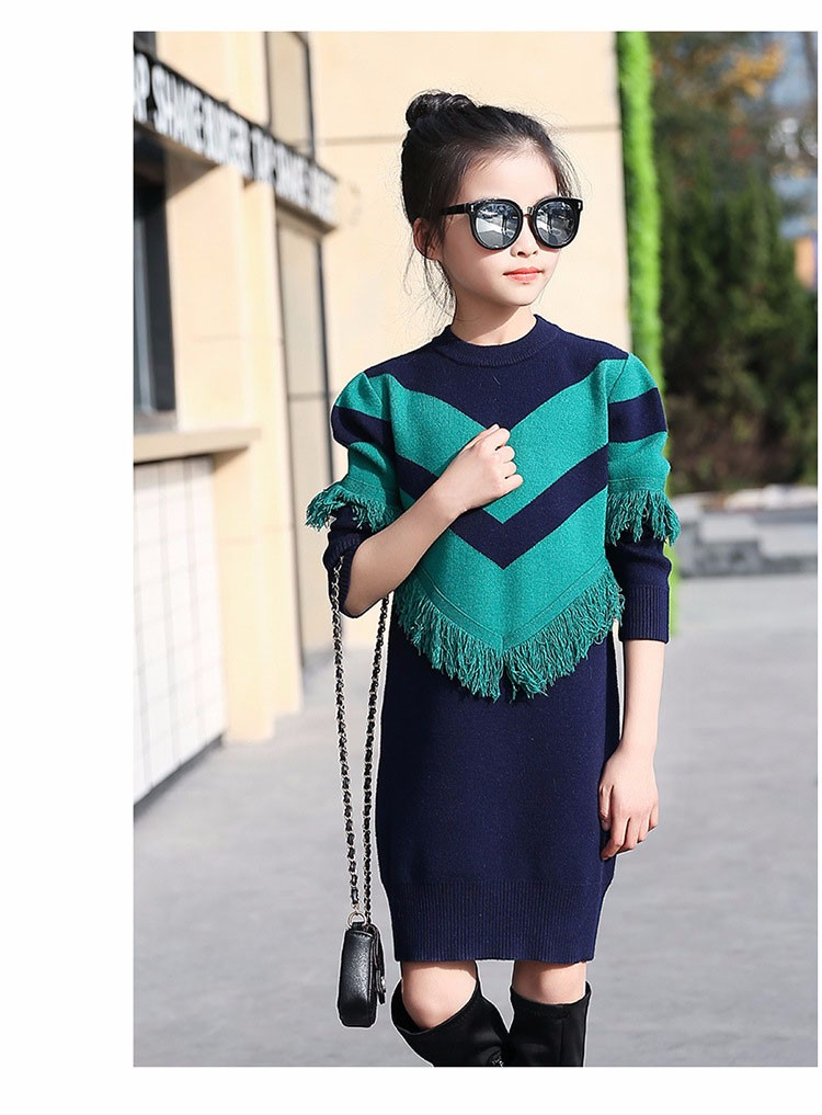 2017 new knitting tassels girls sweater spring autumn winter casual children school clothing preppy style knitted kids sweaters girls dresses 6 7 8 9 10 11 12 13 14 15 16 years old little teenage big girls long sweater dress (7)
