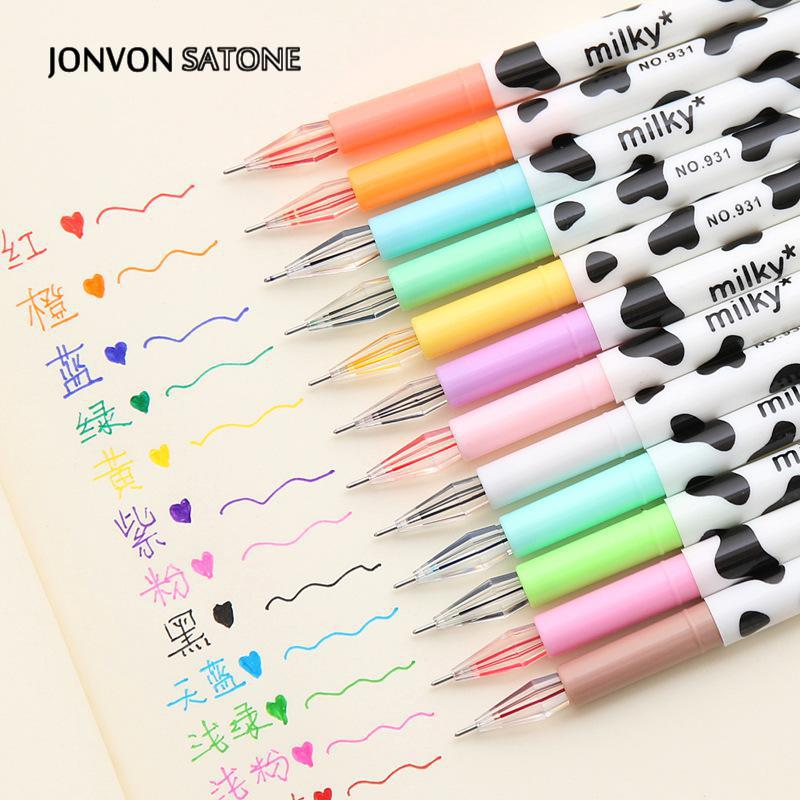Jonvon Satone Creative Stationery Milky Cow 12 Color Diamond Pen Gel Korean Cartoon Stationery Wholesale Kawaii School Supplies