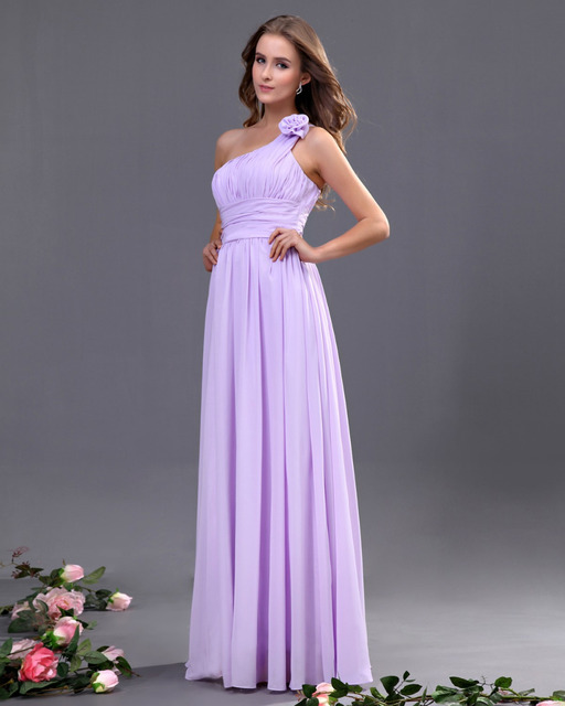 1057a92b6cc Chic One Shoulder Bridesmaid Gowns Lilac A-Line Ruffles Chiffon Bridesmaid Dresses  Long With Hand Made Flower Free Shipping