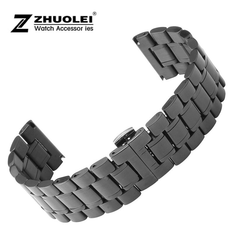 18mm 20mm 22mm 24mm 26mm 28mm 30mm New Men s Heavy Black Polished Stainless Steel Watch