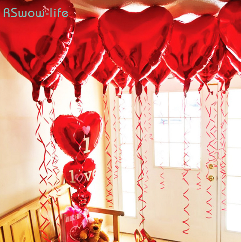 10pcs 18 Inch Heart Shaped Aluminum Balloon Love Balloons for Valentine 39 s Day Decoration Wedding Birthday Party Decoration in Ballons amp Accessories from Home amp Garden