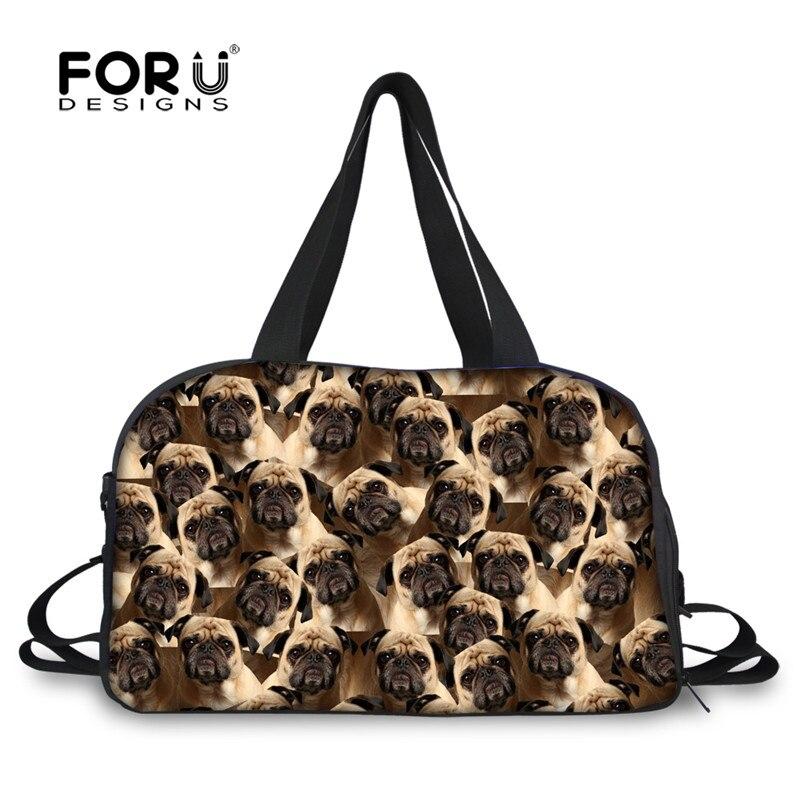 ab5207330f7 FORUDESIGNS Travel Duffle Tote Bag for Women Men 3D Animal Pug Dog Husky  Puzzle Portable Canvas Bag Large Bag with Bottle Pocket
