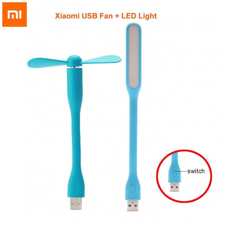 Original Xiaomi Mi LED USB Light Lamp Enhanced Version + Mi USB Fan Portable Adapter for Laptop Notebook PC Computer Power Bank mobile phone