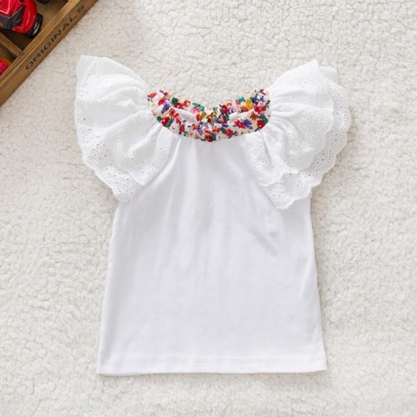 Retail Whole Kids Baby Girls Cute Floral Collar T-shirts Short Sleeve Tops Blouse Baby T-shirts 0-2Y New
