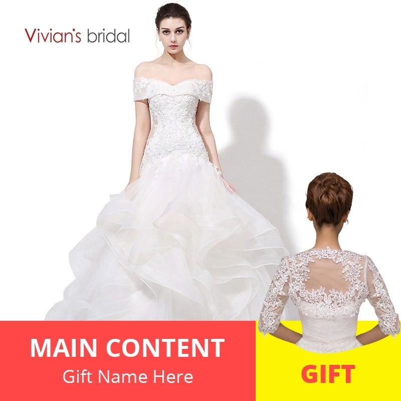 346c0f283 Vivian's Bridal Boat Neck Off Shoulder Ruffled Mermaid Wedding Dress Lace  Sequin Bridal Wedding Gown WD450