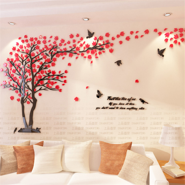 new arrival crystal acrylic diy 3d wall stickers red tree modern