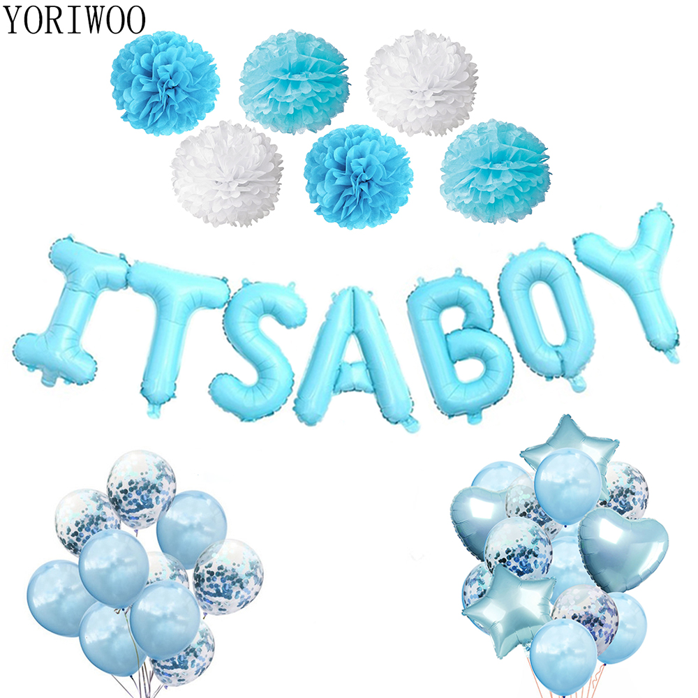 YORIWOO Its A Boy Party Latex Balloon Confetti 1st Birthday Party Decorations Kids Baby Shower Boy Babyshower Baby Gender Reveal