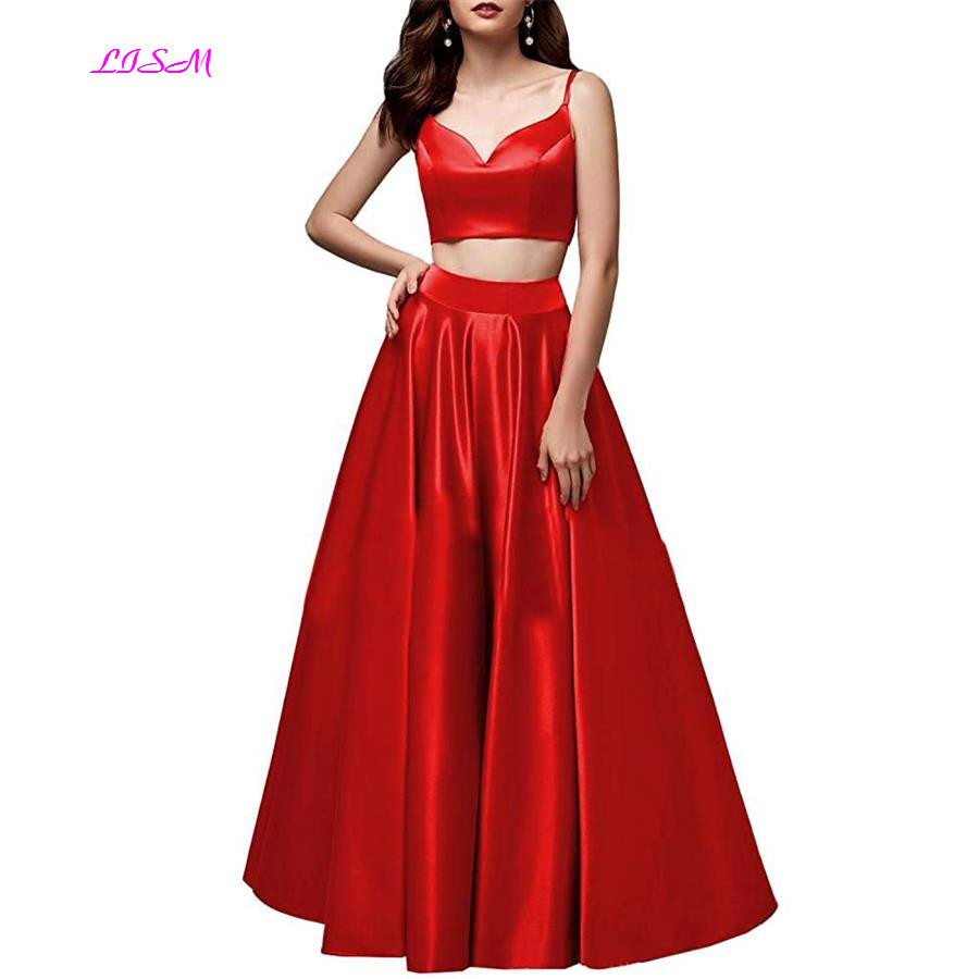 Two Pieces Satin Sweetheart Straps Long Prom Dresses Simple A Line Ruffled Sleeveless Floor Length Prom Gowns Sexy Evening Dress