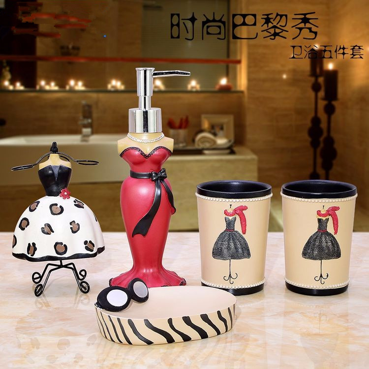 Cup  Brush Bathroom Set Luxurious Fashion Resin Five Pieces Holder Bath Gel Bottle Soap Box Toothbrush Holder Mouth AppliancesCup  Brush Bathroom Set Luxurious Fashion Resin Five Pieces Holder Bath Gel Bottle Soap Box Toothbrush Holder Mouth Appliances