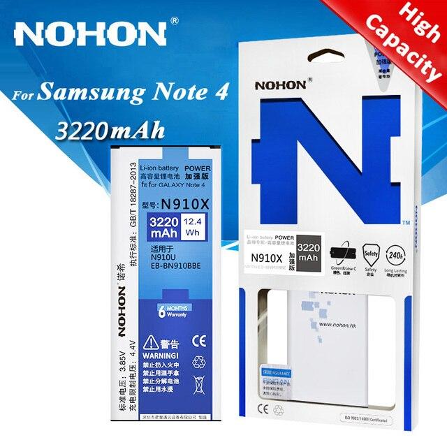 Original NOHON Battery For Samsung Galaxy Note 2 3 4 Note2 N7100 Note3 NFC N9000 Note4 N9100 N910X Real High Capacity Bateria
