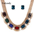 Women Fashion Statement Jewelry sets  Gold Color Resin Rhinestone Wedding Necklace Earrings Set N37721