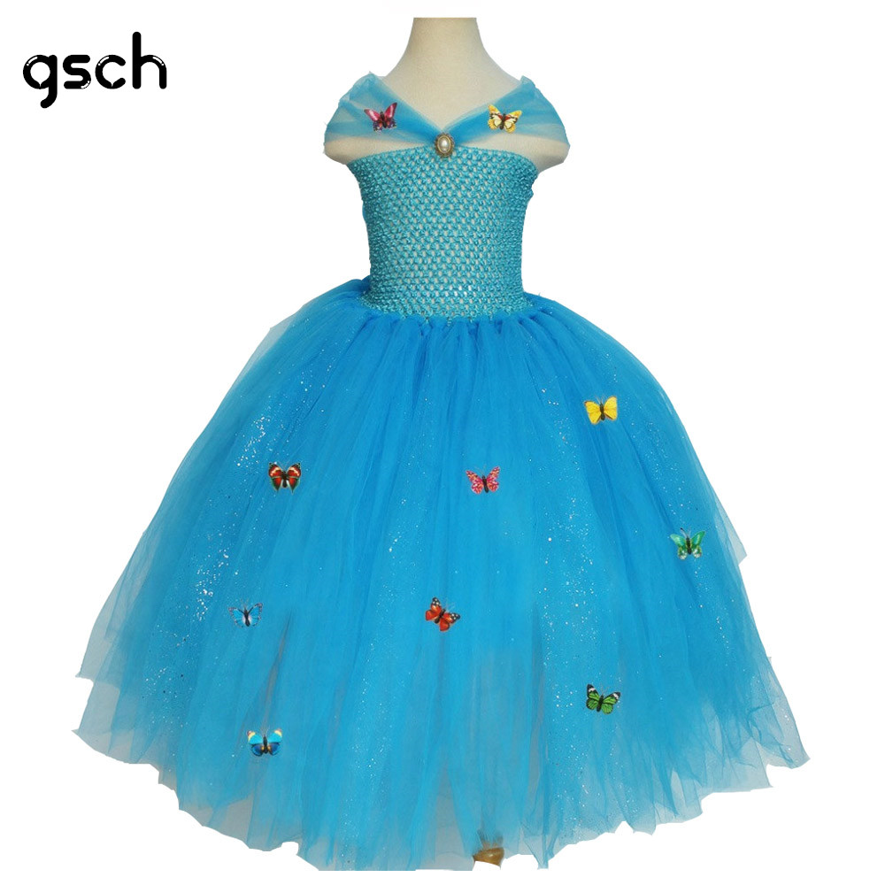 Cinderella Dress 3D Butterfly Girls Dress Tutu Hollow Out Summer Elsa Dress Princess Ball Gown Cosplay Deguisement Robe rapunze hollow out hem knot dress