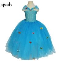 Cinderella Dress 3D Farfalla Ragazze Si Vestono Tutu Scava Fuori Estate Elsa Vestito Dalla Principessa Sfera Cosplay Déguisement Robe rapunze