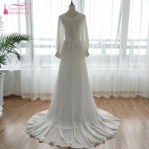 Image 4 - ארוך שרוול שיפון כלה שמלות כלה 2018 מאוחר הקיץ בוהמי חוף Vestido דה Noiva פיות קוריאה Gelinlik ZW056