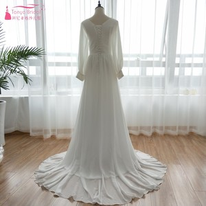 Image 4 - Lange Hülse Chiffon Braut Hochzeit Kleider 2018 Spät Sommer Böhmischen Strand Vestido De Noiva Fee Korea Gelinlik ZW056