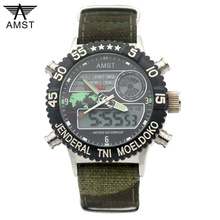 2019 AMST Brand Luxury Quartz Sport Clock Digital LED Wristwatch Army Military Watch Dive 50m Watches for Men Relogio Masculino