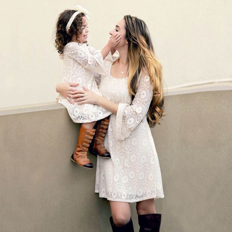 Fashion Family Matching Dresses Mother Kids Daughter Girls Long Sleeve Lace Dress Party Princess Dress