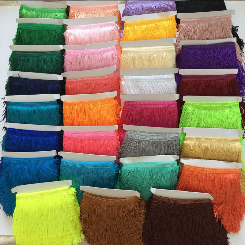 1 yards15cm Long Fringe Lace Tassel Polyester Lace Trim Ribbon Latin dance skirt curtain fringes for sewing