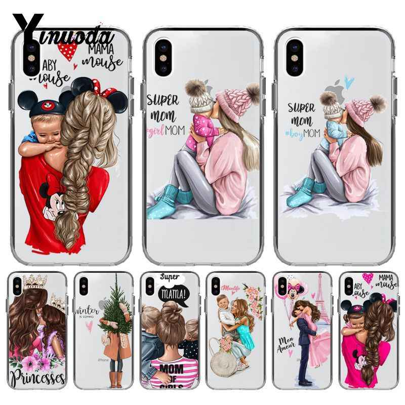 Yinuoda Black Brown Hair Baby Mom Girl Queen Coque Shell Phone Case for iPhone 8 7 6 6S Plus X XS MAX 5 5S SE XR 10 Case Cover