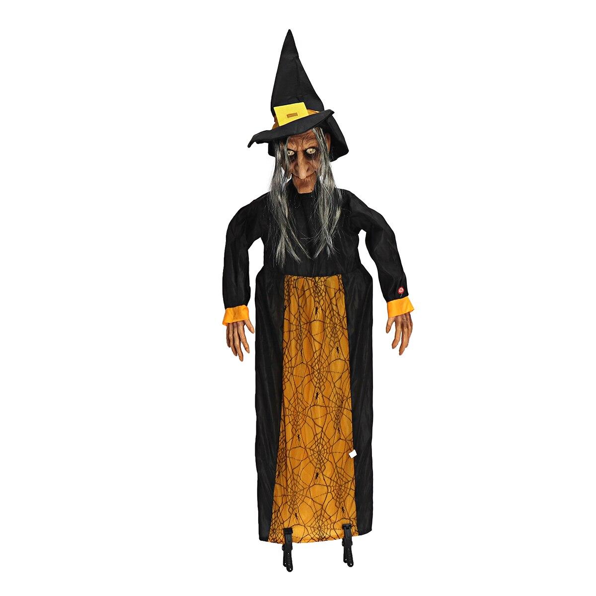 145 cm Halloween Prop Électrique Commande Vocale Fantôme Plaisir D'animation Parlant Sorcière Yeux Rouges Rougeoyants Suspendus Halloween Décoration Prop