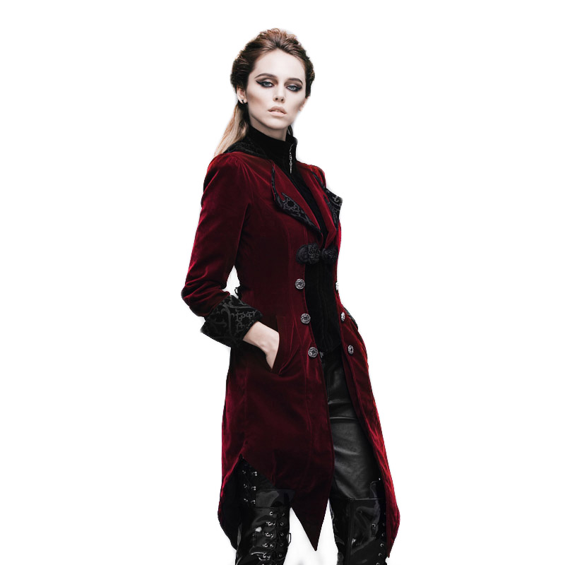 Gothic Women's Coat Steampunk Court Loyal Long Jackets Broderi Printed Pocket Jacket Black Red Windbreaker Kvinne Høstjakke