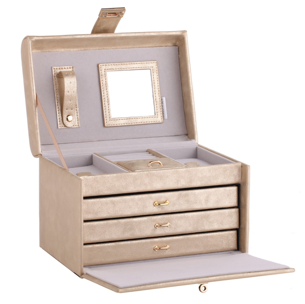 ROWLING Gold Mirror Jewellery Boxes Ring Necklaces Bracelet 3 Drawers Leather Case Velvet Organizer Display Women