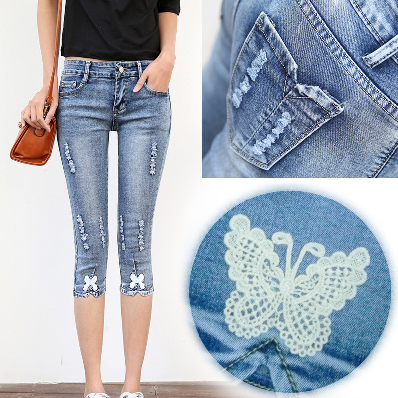 Women's jeans Spring and summer large size stretch Slim Butterfly zipper mid waist blue seven points tight cotton XL