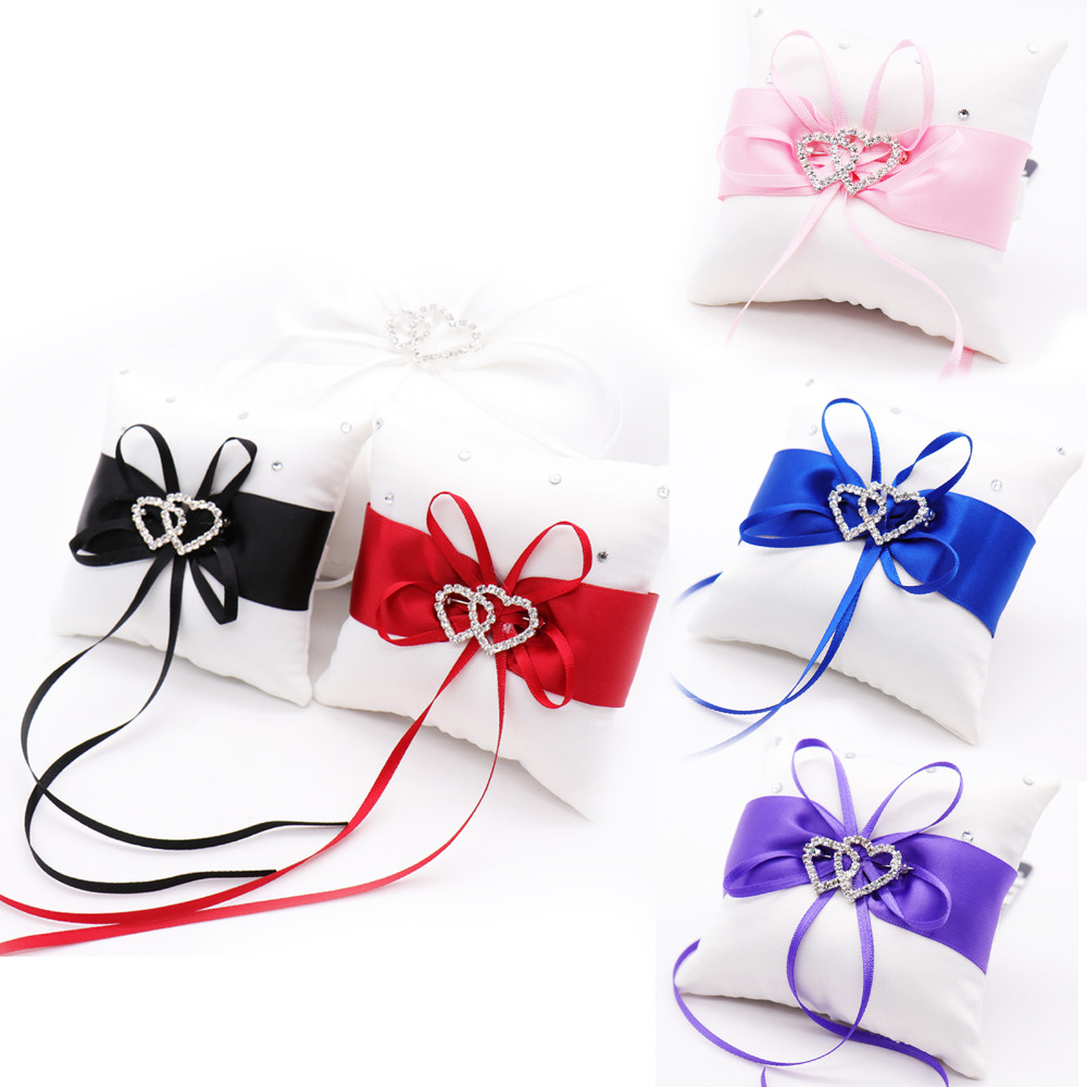 1pc Wedding Ring Pillow Wedding Decoration Party Supplies Satin Ribbon Bowknot Rhineston ...