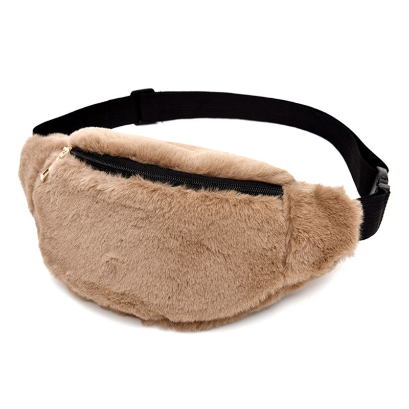 Women Faux Fur Travel Fanny Waist Pack Belt Chest Shoulder Bag Satchel Tote Bags Brown/Black Luxury Handbags Women Bags Designer