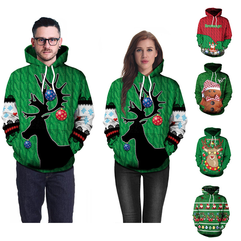 2018 Christmas Family Clothing Couple Sweatshirts Mother and Father Loose Pullover Hoodie Xmas Elk Unisex Christmas Clothes side slit fleece drop shoulder pullover hoodie