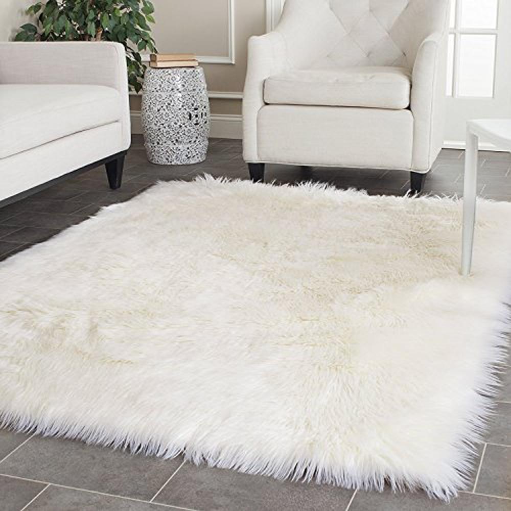 White Faux Sheepskin Rug Long Wool Faux Fur Blanket Decorative ...